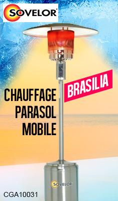 Chauffage parasol SOVELOR mobile - Propane - Inox - BRASILIA