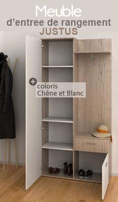 Meuble d'entrée de rangement JUSTUS coloris Chêne et Blanc LYNCO