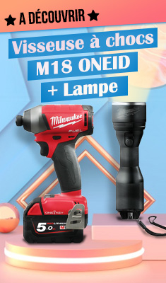 Visseuse à chocs M18 ONEID MILWAUKEE - 2 batteries 5.0Ah 18V + 1 batterie 2Ah 12V + chargeur + lampe M12MLED0 + HD Box - 4933464541
