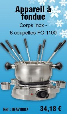 Appareil à fondue Corps inox - 6 coupelles TRISTAR FO-1100