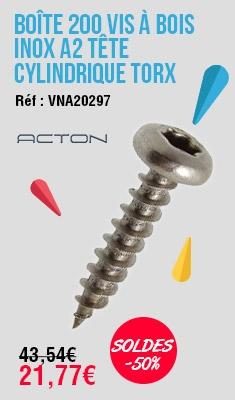 Boîte 200 Vis à bois inox A2 tête cylind. Torx T20 ACTON - 4.5 x 45mm - 623184.5X45