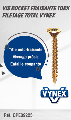 Vis Rocket fraisante Torx filetage total VYNEX