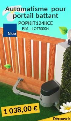 Kit automatisme NICE pour portail battant POPKIT124KCE + Alimentation solaire + 1 télécommande