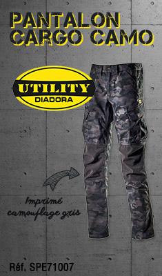 Pantalon Cargo Camo DIADORA UTILITY - imprimé camouflage gris