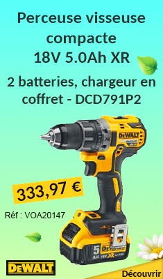 Perceuse visseuse compacte DEWALT 18V 5.0Ah XR + 2 batteries, chargeur en coffret - DCD791P2