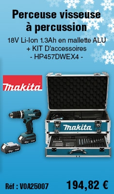 Perceuse visseuse à percussion MAKITA 18V Li-Ion 1.3Ah en mallette ALU + KIT D