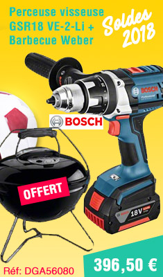 Lot BOSCH perceuse visseuse GSR18 VE-2-Li + 2 batteries 4.0Ah, chargeur + Barbecue Weber - 0615990GY2