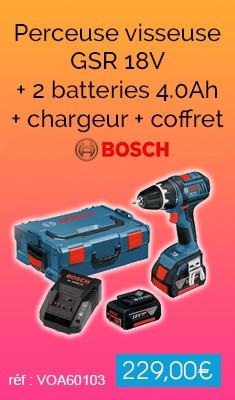 Perceuse visseuse BOSCH GSR 18V - 2 batteries 4.0Ah + chargeur + coffret - 0615990GU5