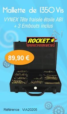 Mallette de 1350 Vis ROCKET VYNEX Tête Fraisée Etoile ABI + 3 Embouts inclus
