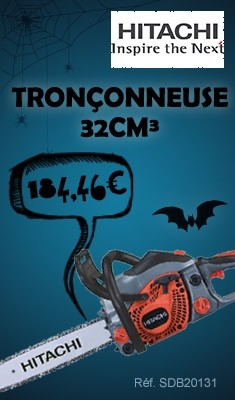 Tronçonneuse HITACHI 32cm³ - Guide chaine 35cm, piston vertical - CS33EB