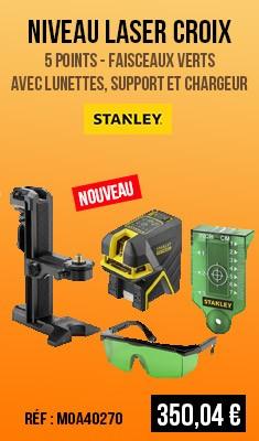 Niveau laser croix STANLEY 5 points - Faisceaux verts - Avec lunettes, support et chargeur - FMHT1-77442