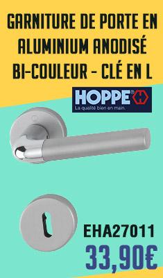 Garniture de porte HOPPE Bremen en aluminium anodisé bi-couleur - Clé en L - 3895170