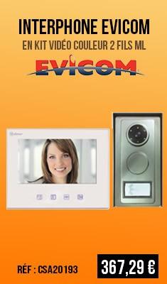 Interphone EVICOM en kit vidéo couleur 2 Fils ML - GSV372S/COL