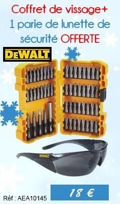 Coffret de vissage DEWALT 53 pieces 25-50 mm + 1 parie de lunette de sécurité