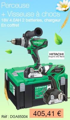 Twin pack HITACHI Perceuse + Visseuse à chocs - 18V 4.0AH 2 batteries, chargeur, coffret - TWDSWH184A