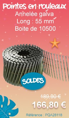 Pointes en rouleaux BOSTITCH annelée galva 2.03 Long : 55 mm Boite de 10500 - N203R55BG13