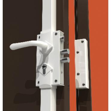 Serrure 300 en applique verticale 3 points réversible Marron H.2040mm sans cylindre + Entretoise 2.5mm MUL-T-LOCK - S300M