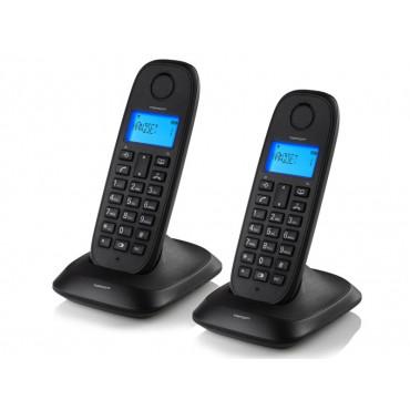 Téléphone sans fil DECT Combiné jumeau Noir TOPCOM TE-5732