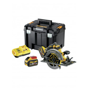 Scie circulaire 2.0 XR FLEXVOLT 54V 3Ah Li-Ion Brushless compatible rail de guidage DEWALT - 190mm - 2 batteries - coffret TSTAK - DCS579X2-QW