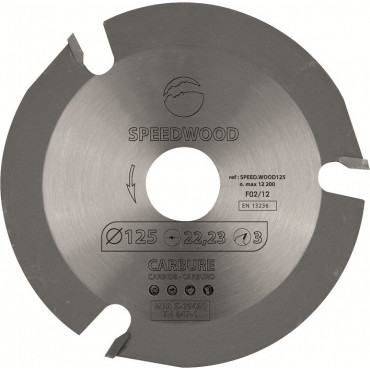 SPEEDWOOD125 Disque au carbure - Diamètre : 125 mm