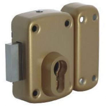 1005EU01 Verrou pour cylindre profile européen, en applique - Bronze or