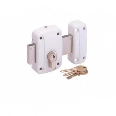 Verrou ISEO City pour cylindre européen, en applique - Blanc - Cylindre  non fourni - 1005EU01B