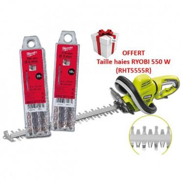 LOT MILWAUKEE : 20 forets SDS Plus 2 taillants + Taille haies électrique 550 W RYOBI - RHT5555R.