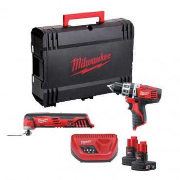 LOT MILWAUKEE 12V : Perceuse Visseuse C12PD/0 + Multitool C12MT + 2 Batteries 3Ah - 4933427181