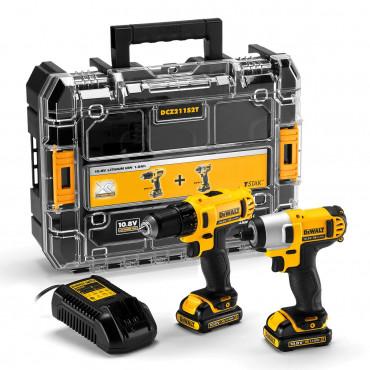 Lot DEWALT perceuse DCD710 + Visseuse à chocs DCF815 - 2 batteries 10.8V 1.5Ah, chargeur - DCZ211S2T