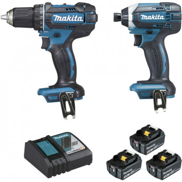 Ensemble de 2 machines MAKITA 18V Perceuse visseuse DDF482 + Visseuse à chocs DTD152 - DLX2127J1
