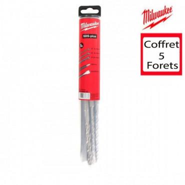 Coffret MILWAUKEE Starter KIT 3 Forets +2 Burins SDS-plus - 4932430002
