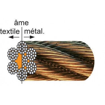 Câble galvanisé âme métallique LEVAC - 7x19 fils - Ø6 mm - CRM 2470 Kg - 1022FGE200 - Au mètre linéaire