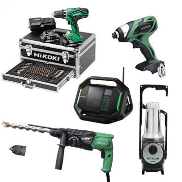 Lot Perceuse + 4 outils -2 batteries 18V 2,5Ah Hitachi/Hikoki