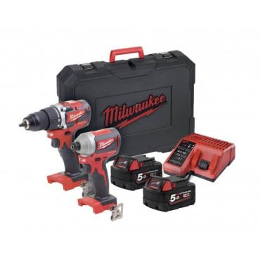 Pack M18 CBLPP2B-502C : Perceuse M18 CLBDD-0 +Visseuse M18 CBLID-0 + 2 Batt. 5.0Ah + chargeur + coffret - 4933464718