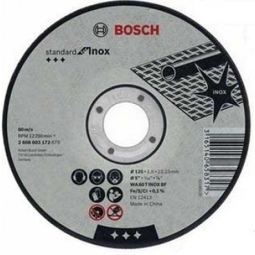 Boite de 10 Disques BOSCH Ø125 X 22.23 X 1.6 Standard INOX - 2608619050