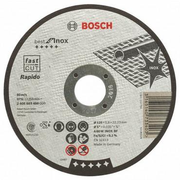 Disque BEST à tronçonner BOSCH à moyeu plat Spécial inox 125X0.8 MM - 2608603488