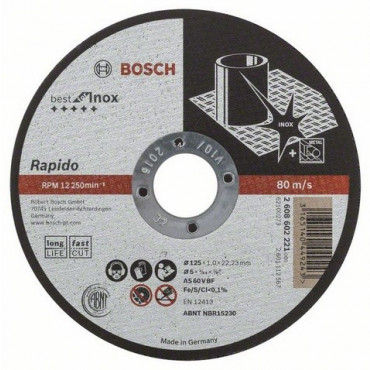 Disque EXPERT à tronçonner BOSCH à moyeu plat Spécial Inox 125X1 MM - 2608602221