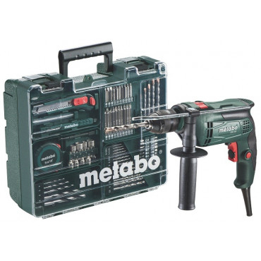 Perceuse à percussion METABO SBE -650 - 650W + set atelier mobile avec plus de 60 accessoires - 6.00671.87