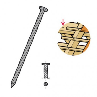 Pointe tête plate ronde torsadée galvanisé 90x3.9 mm - Boite 5 Kg - 781506