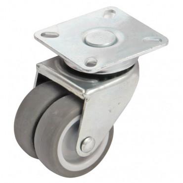 Roulette pivotante à platine rectangulaire AVL - Double roue Ø 50 - Charge 60 kg - 550303A