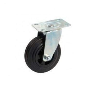 Roulette pivotante a platine - caoutchouc noir - 5088