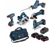 Pack 5 machines GSR-GST-GWS-GKS-GSA 18V + 3 batteries 4Ah + Sac BOSCH - 0615990L59