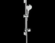 Set de douche HANSGROHE Crometta  Vario avec barre Unica'Croma 65 cm et porte-savon blanc/chromé - 26553400