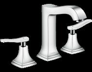 Mélangeur de lavabo HANSGROHE Metropol Classic , 3 trous poignées manettes, avec tirette et vidage chromé - 31331000