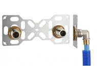FIXSYSTEM double : kit complet de fixation d'un robinet mural entraxe 150 mm. Coudes d'alimentation à glissement sur tube PER - Ø 16 mm, sortie mâle 3/4' (20x27) - 3310-16PL1