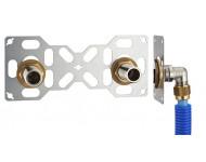 FIXSYSTEM double : kit complet de fixation d'un robinet mural entraxe 150 mm. Coudes d'alimentation à compression sur tube PER - Ø 16 mm, sortie mâle 3/4' (20x27) - 3315-16PL1