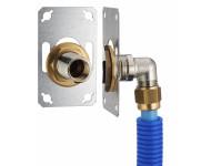 FIXSYSTEM simple : kit complet de fixation d'un robinet mural simple M1/2' (15x21). Coude d'alimentation à compression sur tube PER - Ø 12 mm, sortie femelle 1/2' (15x21) - 3325-12PL1