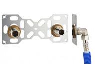FIXSYSTEM double : kit complet de fixation d'un robinet mural entraxe 150 mm. Coudes d'alimentation à sertir profil U sur tube multicouche - Ø 16 mm, sortie mâle 3/4' (20x27) - 3331-16PL1