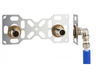 FIXSYSTEM double : kit complet de fixation d'un robinet mural entraxe 150 mm. Coudes d'alimentation à compression sur tube multicouche - Ø 16 mm, sortie mâle 3/4' (20x27) - 3335-16PL1