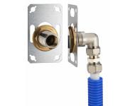 FIXSYSTEM simple : kit complet de fixation d'un robinet mural simple M1/2' (15x21). Coude d'alimentation à compression sur tube multicouche - Ø 16 mm, sortie femelle 1/2' (15x21) - 3345-16PL1